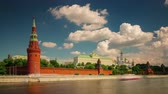 time : moscow sunny day river bay kremlin wall panorama 4k time lapse russia