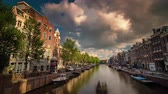 corner : sunny day amsterdam city canal panorama 4k time lapse netherlands