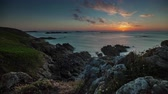 brittany : summer day luxury bay sunset panorama 4k time lapse france