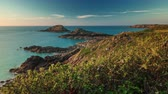 brittany : sunset hills bay sea panorama 4k time lapse france