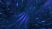 Warp Cosmic Loop Blue! Travel through space and time with a creative background Hyper jump into another galaxy. Speed of light, Beautiful fireworks, colorful explosion, big bang. Moving through stars. Stok Video