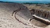 pamukkale : The ruins of old city debris of Turkish amphitheater. Archaeological Attraction. Ancient city Hierapolis near Marmaris in Turkey