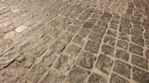 pavimentação : stone road in the city. Texture Stock Footage