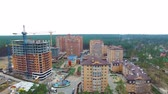 roof : unfinished construction of multi-storey buildings. aerial drone video