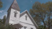 Establishing Shot of Old Wooden Church Building, Tilt Down, 4K Stock Footage