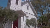 Establishing Shot of Old Wooden Church Building, Tilt Up, 4K Stock Footage