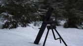 troops : Mortar fires a shell in the winter snowy forest