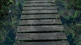 подвесной : Wooden bridge over river. Walking on a wooden bridge across river on summer day Стоковые видеозаписи