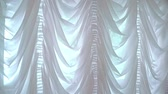 panejamento : White curtains in a luxurious interior. Close up white curtains on window