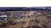 airsoft : Aerial view destroyed buildings in cottage village during military operations
