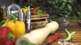 düşük kalorili : Tracking shot vegetable background on wooden table. Close up fresh vegetable for italian food preparation. Appetizing ingredients for low calorie diet and fitness food. Mediterranean cuisine concept.