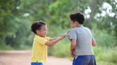 brother : Two boy angry and fighting by punch on the other on the urban road during summer time. Stock Footage