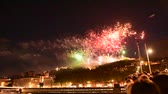 lyon : Lyon, France July 14: The fireworks at Soane river view with cathedrals Saint-Georges and Fourviere in the French national day July 14, 2016.