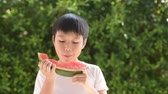 crianças : young asian boy eating watermelon in the garden
