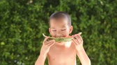дома : young asian boy eating watermelon in the garden