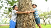 family love : Two young Asian Thai children hug around a big tree