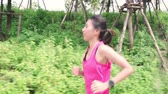 Healthy beautiful young Asian runner woman in sports clothing running and jogging on street in urban city park. Lifestyle fit and active women exercise in the city concept. Stock Footage