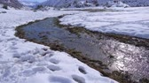 cold winter : River and landscape in Santiago, Chile,
