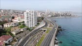 aerial landscape : Aerial view of a city and a beach in Chile