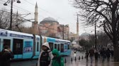 bizantino : Sultanahmet, Istanbul  Turkey - January 02 2019: Hagia Sophia Church and Zeytinburnu-Kabatas tramway line
