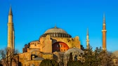 bizantino : Hagia Sophia Church Istanbul sunset. Time Lapse