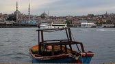 ponte : Istanbul landscape, small boat sea, mosque and Galata Bridge