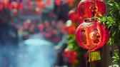 pequim : Chinese new year lanterns with blessing text mean happy ,healthy and wealth in china town. Stock Footage