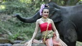 rilegatura : Asian woman with elephant in creek ,Chiang mai Thailand. Filmati Stock