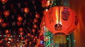 китайский квартал : Chinese new year lanterns in chinatown ,blessing text mean have wealth and happy Стоковые видеозаписи