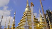Pagoda and traditional zodiac religion flag in Wat Phan-Tao in old town Chiang Mai, Thailand Vídeos