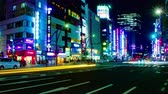ekonomika : Night busy street at Ueno 4K time lapse