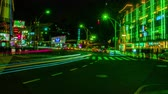 cultura japonesa : Night busy street at Ueno 4K wide shot
