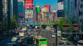 asiático : Busy street at Shinjuku west side 4K high angle time lapse