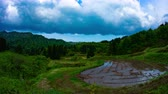 posição : Time lapse 4K at rice paddy in Joetsu Niigata wide shot