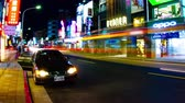 city lifestyle : Night market at Taipei time lapse 4 K wide shot Stock Footage