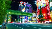 red traffic light : Night time lapse under the railway in Akihabara slow shutter Stock Footage