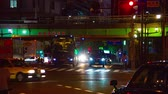 red traffic light : Night time lapse at neon town in Akihabara.