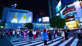red traffic light : Night time lapse at Shibuya crossing 4K middle shot Stock Footage
