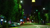 autostrada : Night time lapse behind neon tower at Harajuku 4K middle shot