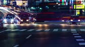 asian architecture : Rush street at the crossing in Shinjuku night time lapse Stock Footage