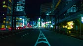 long exposure : Rush street at the crossing in Shinjuku night time lapse Stock Footage
