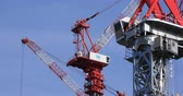 high rise buildings : Moving cranes at the under construction in Ariake middle shot deep focus Stock Footage