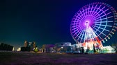 carrousel : Ferris wheel at night in Odaiba Tokyo time lapse