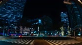 panning : Night time lapse urban street at the business town in Tokyo