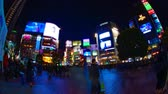long exposure : Night time lapse crossing at the neon town in Shibuya Tokyo wide shot