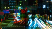 uzun pozlama : A timelapse of the street at the downtown in Tokyo at night long exposure middle shot