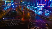 passage clouté : A timelapse of the street at the downtown in Osaka at night high angle Vidéos Libres De Droits