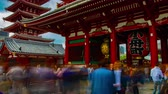 asian architecture : A timelapse of main old fashioned gate at Sensouji temple in Asakusa Tokyo wide shot