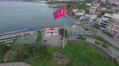 kemal : Turkish flag drone shot with houses Stock Footage