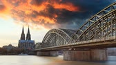 Cologne Cathedral and Hohenzollern Bridge at sunset, Time lapse
